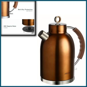 Ascot Stainless Steel Electric Tea Kettle 1.7QT, BPA-Free, Cordless