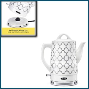 BELLA 1.5 Liter Electric Ceramic Tea Kettle with Boil Dry Protection