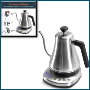 COSORI Electric Gooseneck Kettle with 5 Variable Presets, Pour Over Coffee Kettle & Tea Kettle