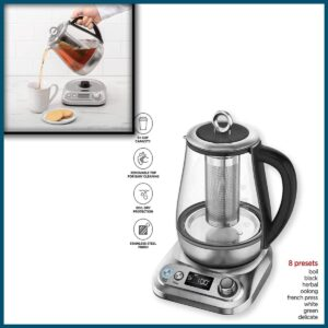 Chefman Digital Electric Glass Kettle, Removable Tea-Infuser Included