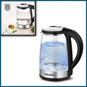 Dezin Electric Kettle, Glass Electric Tea Kettle, Auto Shut-Off 304 Stainless Steel Hot Water Kettle Warmer Cordless 1.8L with Fast Boil, Boil Dry Protection Tech for Coffee, Tea