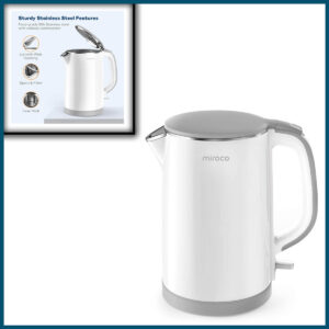 Electric Kettle, Miroco Double Wall 100% Stainless Steel Cool Touch Tea Kettle with 1500W Fast Boiling Heater
