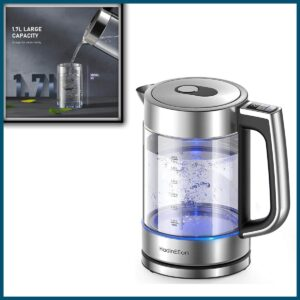HadinEEon Electric Kettle, Variable Temperature Tea Kettle 1.7L, 1500W Fast Boil Glass Water Kettle