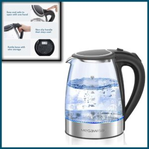 MEGAWISE 1500W Electric Kettle, 1.8L Borosilicate Glass Tea Kettle with LED Light
