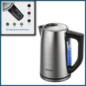 Miroco Electric Kettle temperature control stainless steel 1.7L tea kettle