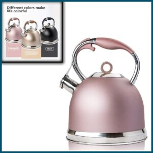 Tea Kettle 3 Liter induction Modern Stainless Steel Surgical Whistling Teapot - Pot For Stove Top (Rose-gold)