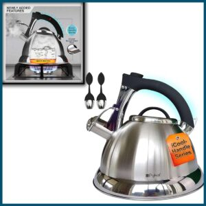 Whistling Tea Kettle with iCool - Handle, Surgical Stainless Steel Teapot for ALL Stovetops, 2 FREE Infusers