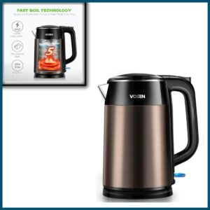 VOSEN Electric Kettle Electric Tea Kettle 1.7L Double Wall Stainless Steel, BPA Free Cool Touch Kettle