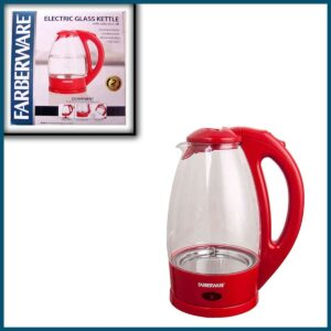 Farberware Electric Glass Kettle Red
