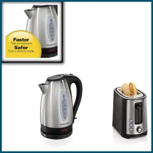Hamilton Toaster And Kettle Stainless Steel Set